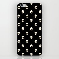 White Skulls On Black iPhone & iPod Skin