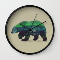 Wall Clock featuring Polar Bear In Northern L… by Andreas Lie