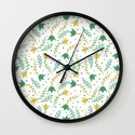 Floral white pattern  Wall Clock