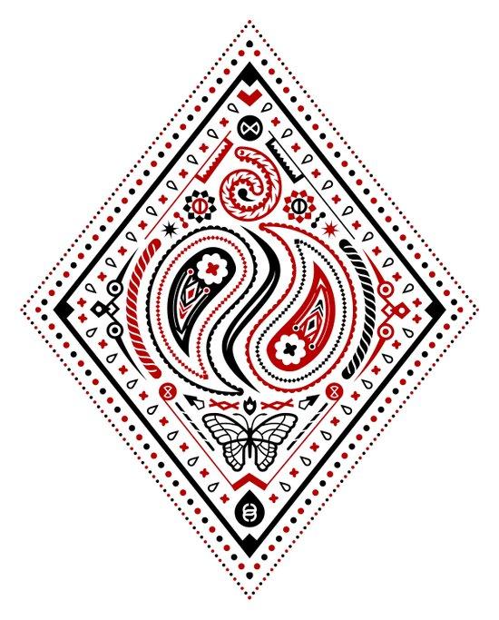83 Drops - Diamonds (Red & Black) Art Print