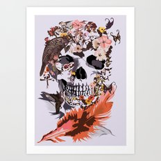 Skull, Flower, crow, honey bird and butterfly iPhone 4 4s 5 5s 5c, pillow case and tshirt Art Print