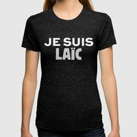Je Suis Laïc Womens Fitted Tee Tri-Black SMALL