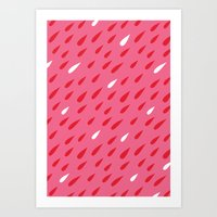 Red + Pink Droplets Art Print