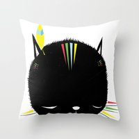 MIGHTY TIGARRR, BLACK KITTEN 묘 Throw Pillow