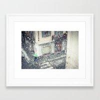 Green umbrella in snow Framed Art Print