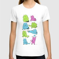 Fluro Cats Womens Fitted Tee White SMALL