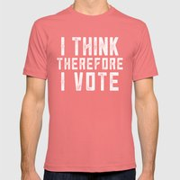 I Think Therefore I Vote (on black version) Mens Fitted Tee Pomegranate SMALL