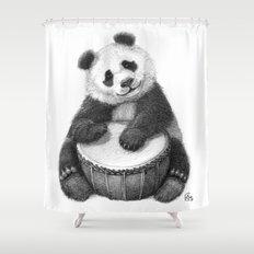 Panda playing percussion G140 Shower Curtain