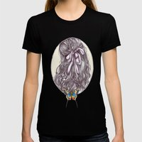 Bow And Butterfly Womens Fitted Tee Black SMALL