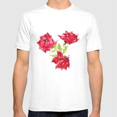 Three Red Roses White SMALL Mens Fitted Tee