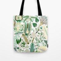 Green Flower Fantasy  Tote Bag