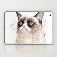 Grumpy Watercolor Cat II Laptop & iPad Skin