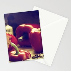 Fresh red peppers in retro still life Stationery Cards