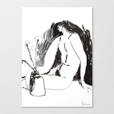 Nude male with vase and flowers Canvas Print