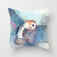 Broken Owl Throw Pillow
