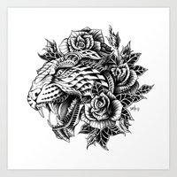 Ornate Leopard Black & W… Art Print