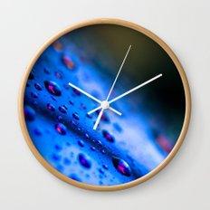 Rain Drops on Blue Sunglasses Wall Clock