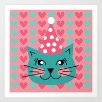 Cat Party Hat Art Print