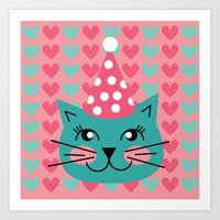 Cat Party Hat Art Print