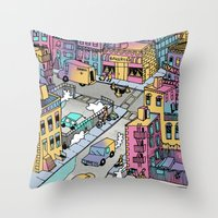 Tiny Town Throw Pillow
