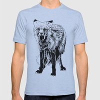 Angry Fox (b&w) Mens Fitted Tee Athletic Blue SMALL