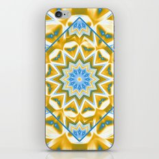 Wheel cover kaleidoscope in blue and gold iPhone & iPod Skin