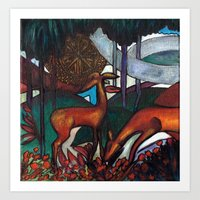 Deco Deer Art Print