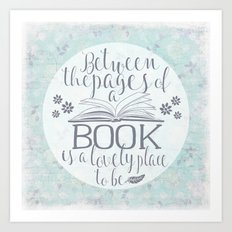 Between the Pages of a Book - Vintage Blue Art Print