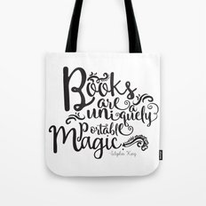 Books are a Uniquely Portable Magic BW Tote Bag