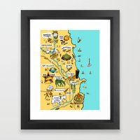 Chicago Food Map Framed Art Print