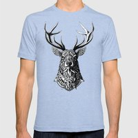 Ornate Buck Mens Fitted Tee Tri-Blue SMALL