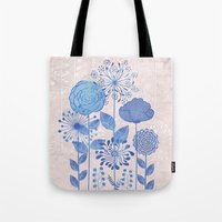 Light Blue Flowers Tote Bag