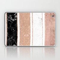 Faux rose gold glitter modern marble stripes pattern Laptop & iPad Skin