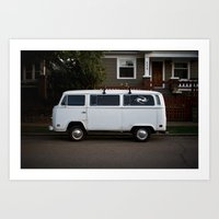 side streets in white (Curbside VW photo series)  Art Print