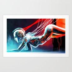 Girl Robot Cyborg Art Print