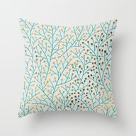 Berry Branches – Turqu… Throw Pillow
