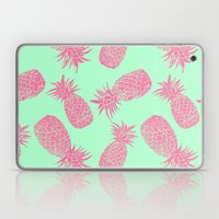 Pineapple Pattern - Mint & Crimson Laptop & iPad Skin