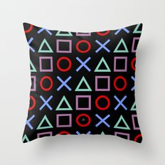 Gamer Pattern Color on Black Throw Pillow