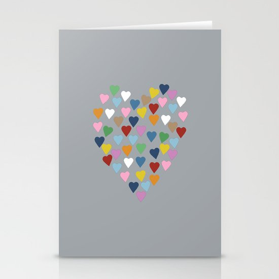 Hearts Heart Multi Grey Stationery Card