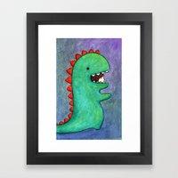 dino girl Framed Art Print