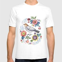 Romantic singing bird with flowers Mens Fitted Tee White SMALL
