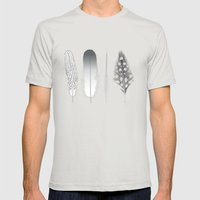 Feathers Trio Mens Fitted Tee Silver SMALL