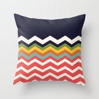 Retro Chevrons (salmon and navy) Throw Pillow