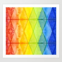 Abstract Rainbow Watercolor Pattern Art Print