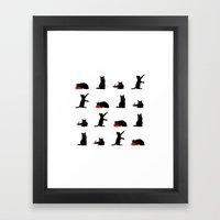 Cats Black On White Framed Art Print