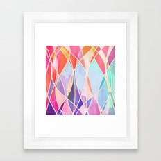 Purple & Peach Love - abstract painting in rainbow pastels Framed Art Print