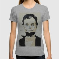 Abraham Lincoln (skull) Womens Fitted Tee Athletic Grey SMALL