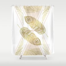 Gold Feathers Shower Curtain