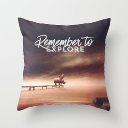 Throw Pillow - Remember to explore - text version - HappyMelvin