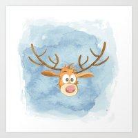 Reindeer Watercolor Christmas Art Print